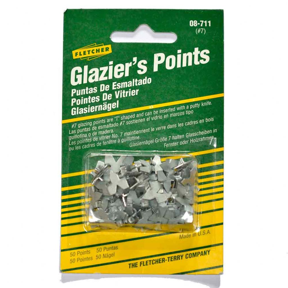 Fletcher Push Glazier's Points -  Pack of 50